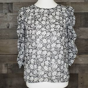 Floral blouse Ruched Sleeve 1.State Wild Blooms XS